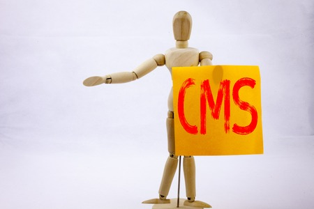 Conceptual hand writing text caption inspiration showing CMS Business concept for CMS WWW written on sticky note sculpture background space Stock Photo