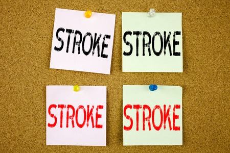 Conceptual hand writing text caption inspiration showing Stroke Business concept for Medicine health stethoscope illness on colourful Sticky Note close-up