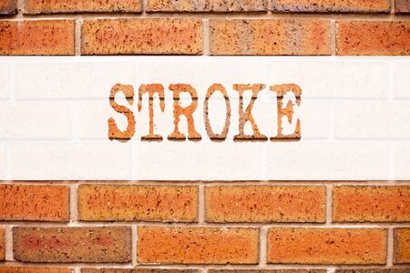 Conceptual announcement text caption inspiration showing Stroke. Business concept for Medicine health stethoscope illness written on old brick background with space