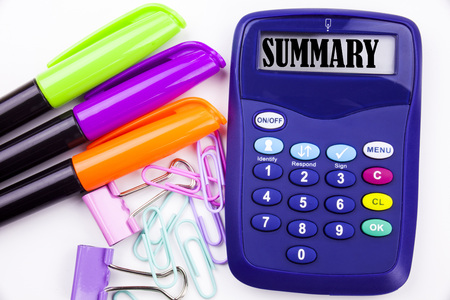 Writing word Summary text in the office with surroundings such as marker, pen writing on calculator. Business concept for Brief Review Business Overview white background with space Imagens