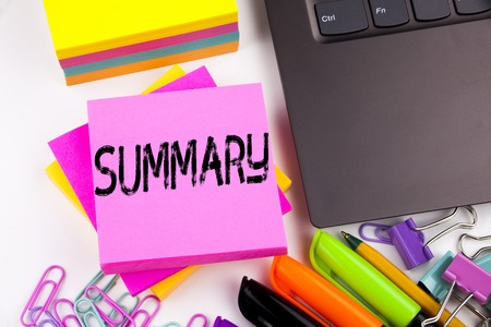 Writing text showing Summary made in the office with surroundings such as laptop, marker, pen. Business concept for Brief Review Business Overview Workshop white background space 版權商用圖片 - 90942672