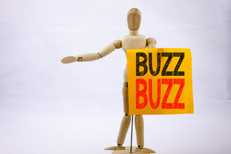 Conceptual hand writing text caption inspiration showing Buzz Business concept for Buzz Word llustration written on sticky note sculpture background Stock Photo