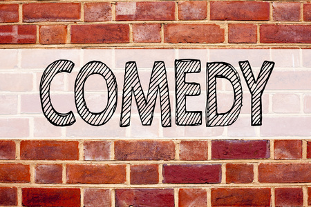 Conceptual announcement text caption inspiration showing Comedy. Business concept for Stand Up Comedy Microphone written on old brick background with space