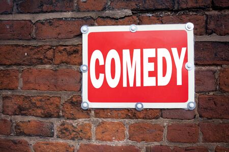 Hand writing text caption inspiration showing Comedy concept meaning Stand Up Comedy Microphone written on old announcement road sign with background and space