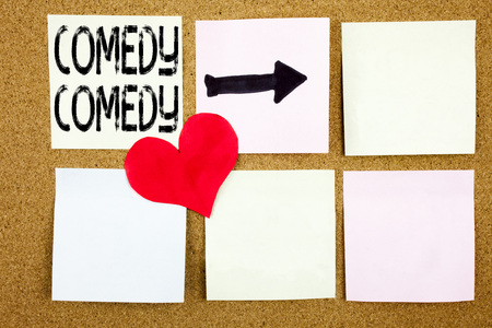 Conceptual hand writing text caption inspiration showing Comedy concept for Stand Up Comedy Microphone and Love written on wooden background, reminder background with space