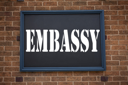 Conceptual hand writing text caption inspiration showing announcement Embassy. Business concept for Tourist Visa Application written on frame old brick background with space