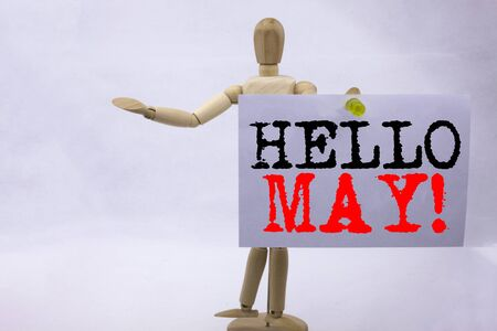 Conceptual hand writing text caption inspiration showing Hello May. Spring Business concept for Criminal hacker security prevention on sticky note sculpture background with space