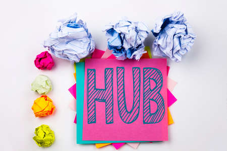 Writing text showing HUB written on sticky note in office with screw paper balls. concept for HUB Advertisement on the white isolated background.