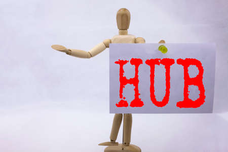 Conceptual hand writing text caption inspiration showing HUB Business concept for HUB Advertisement written on sticky note sculpture background