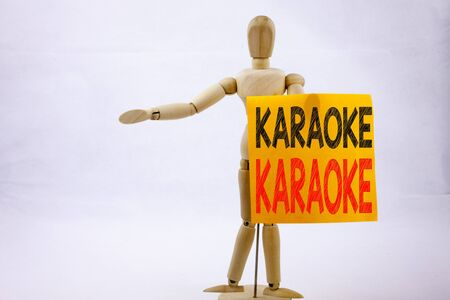 Conceptual hand writing text caption inspiration showing Karaoke Business concept for Singing Karaoke Music written on sticky note sculpture background