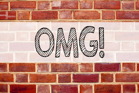 Conceptual announcement text caption inspiration showing OMG Oh My God. Business concept for Surprise Humor written on old brick background with space Stock Photo - 90939412