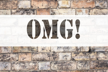 Conceptual announcement text caption inspiration showing OMG Oh My God. Business concept for Surprise Humor written on old brick background with space Stock Photo