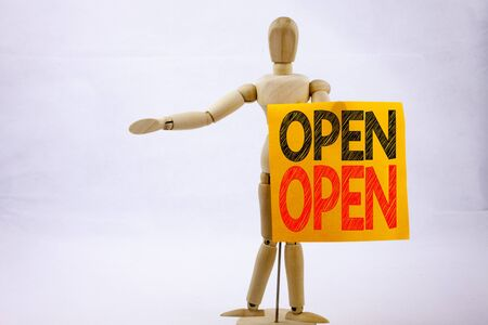 Conceptual hand writing text caption inspiration showing Open Business concept for shop Opening written on sticky note sculpture background