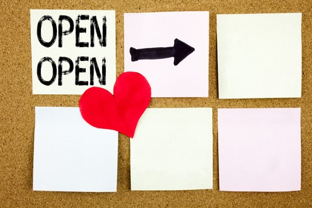 Conceptual hand writing text caption inspiration showing Open concept for shop Opening and Love written on wooden background, reminder background with space Stock Photo