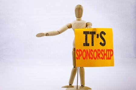 Conceptual hand writing text caption inspiration showing Sponsorship Business concept for Word Cloud Concept on sticky note sculpture background with space