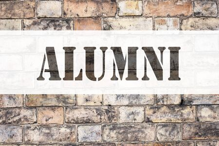 Conceptual announcement text caption inspiration showing Alumni Former Students. Business concept for Celebration Education Ending written on old brick background with space