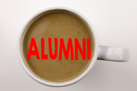 Word, writing Alumni Former Students text in coffee in cup. Business concept for Celebration Education Ending on white background with space. Black text with red word.
