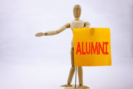 Conceptual hand writing text caption inspiration showing Alumni Former Students Business concept for Celebration Education Ending on sticky note sculpture background with space