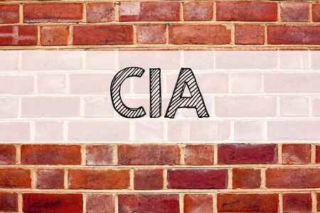 Conceptual announcement text caption inspiration showing CIA . Business concept for Abbreviation written on old brick background with space