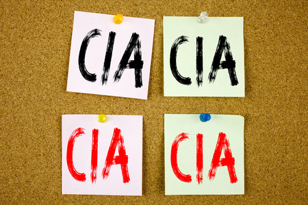Conceptual hand writing text caption inspiration showing CIA  Business concept for Abbreviation on colourful Sticky Note close-up Stock Photo