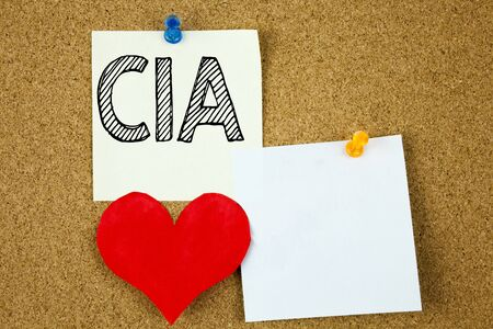 Conceptual hand writing text caption inspiration showing CIA  concept for Abbreviation and Love written on sticky note, cork background with copy space Stock Photo
