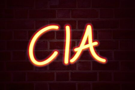 CIA  neon sign on brick wall background. Fluorescent Neon tube Sign on brickwork Business concept for Abbreviation 3D rendered Front View Banco de Imagens