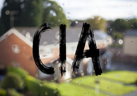 Announcement text caption showing CIA . Business concept for Abbreviation written on old brick background with space