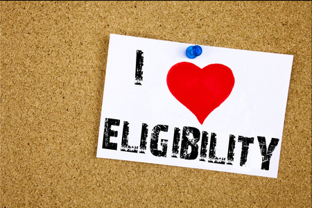 Hand writing text caption inspiration showing I Love Eligibility concept meaning Suitable Eligible Eligibility Loving written on sticky note, reminder isolated background with space Stock Photo