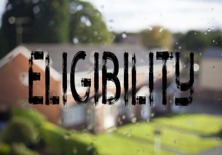 Announcement text caption showing Eligibility. Business concept for Suitable Eligible Eligibility written on old brick background with space Stockfoto