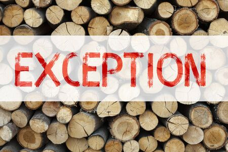 Conceptual announcement text caption inspiration showing Exception Business concept for Exceptional Exception Management,  written on wooden background with space