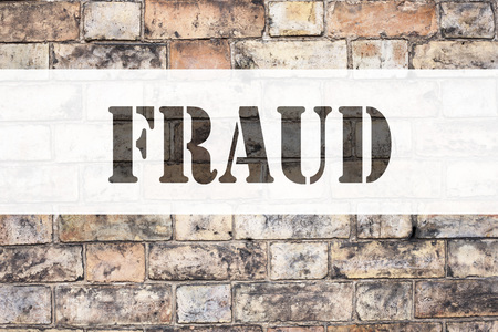 Conceptual announcement text caption inspiration showing Fraud. Business concept for Fraud Crime Business Scam written on old brick background with space Stock Photo