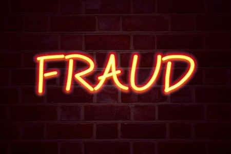 Fraud neon sign on brick wall background. Fluorescent Neon tube Sign on brickwork Business concept for Fraud Crime Business Scam 3D rendered Front View