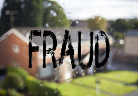 Announcement text caption showing Fraud. Business concept for Fraud Crime Business Scam written on old brick background with space Stock Photo