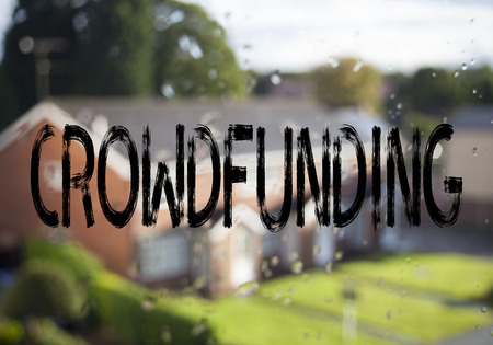 Announcement text caption showing Crowdfunding. Business concept for Business Fundraising Project Funding written on old brick background with space Stock Photo