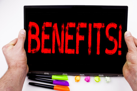 Benefits text written on tablet, computer in the office with marker, pen, stationery. Business concept for Bonus Employee Financial Benefits white background with space Banco de Imagens