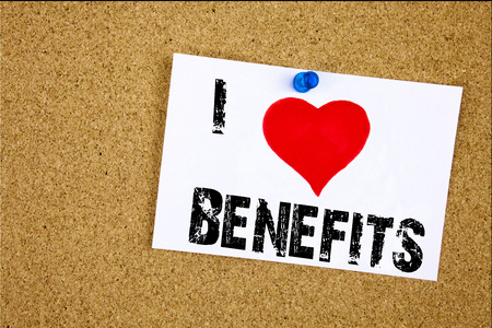 Hand writing text caption inspiration showing I Love Benefits concept meaning Bonus Employee Financial Benefits Loving written on sticky note, reminder isolated background with space Imagens