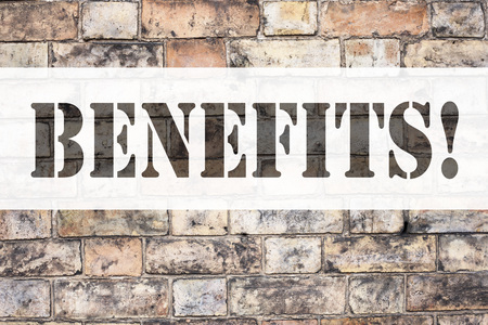 Conceptual announcement text caption inspiration showing Benefits. Business concept for Bonus Employee Financial Benefits written on old brick background with space Banco de Imagens