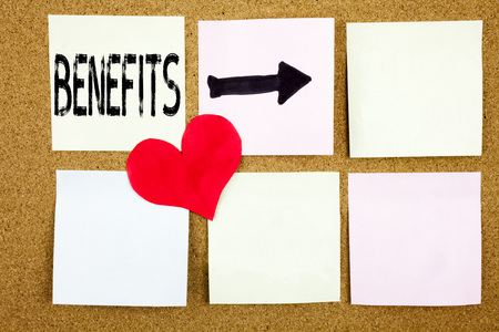 Conceptual hand writing text caption inspiration showing Benefits concept for Bonus Employee Financial Benefits and Love written on wooden background, reminder  background with space Banco de Imagens