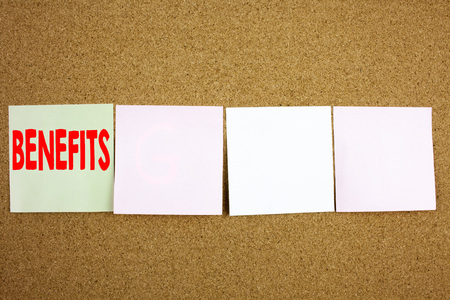 Conceptual hand writing text caption inspiration showing Benefits Business concept for Bonus Employee Financial Benefits on the colourful Sticky Note close-up background with space