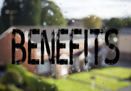 Announcement text caption showing Benefits. Business concept for Bonus Employee Financial Benefits written on old brick background with space Stock Photo