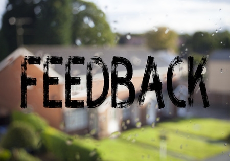 Announcement text caption showing Feedback. Business concept for Opinion Information Positive Negative Feedback written on old brick background with space