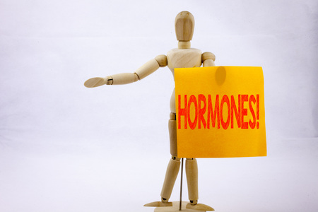 Conceptual hand writing text caption inspiration showing Hormones Business concept for Hormone Pill on sticky note sculpture background with space