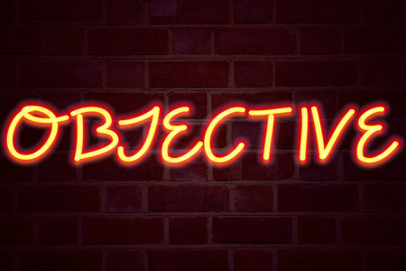 Objective neon sign on brick wall background. Fluorescent Neon tube Sign on brickwork Business concept for Unbiased Neutral Detached Factual Judicial 3D rendered Front View 版權商用圖片 - 91816964