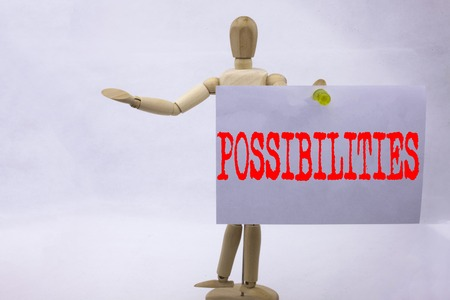 Conceptual hand writing text caption inspiration showing Possibilities Business concept for Impossible Choice Choices written sticky note sculpture background with space Standard-Bild - 91817283