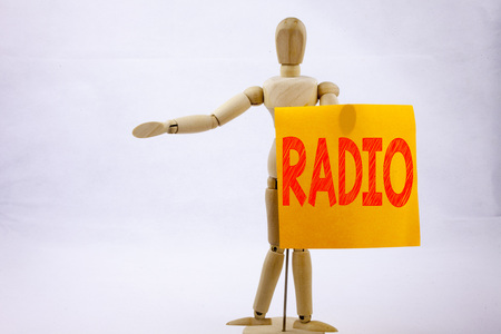 Conceptual hand writing text caption inspiration showing Radio Business concept for Media and Education on sticky note sculpture background with space