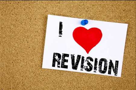 Hand writing text caption inspiration showing I Love Revision concept meaning Repeat Repetition Education Material for Exam Loving written on sticky note, reminder isolated background with space