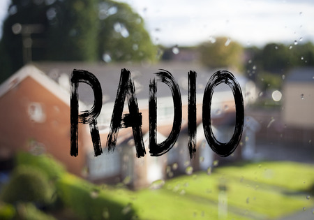 Announcement text caption showing Radio. Business concept for Media and Education written on old brick background with space Stock Photo