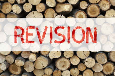 Conceptual announcement text caption inspiration showing Revision Business concept for Repeat Repetition Education Material for Exam written on wooden background with space Stock Photo