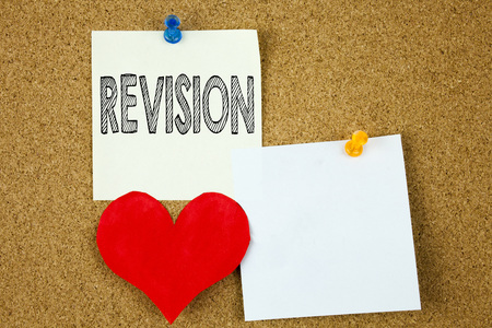 Conceptual hand writing text caption inspiration showing Revision concept for Repeat Repetition Education Material for Exam and Love written on sticky note, cork background with copy space
