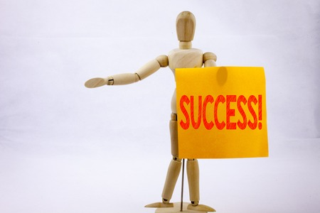 Conceptual hand writing text caption inspiration showing Success Business concept for Victory Triumph Good Result Favourable Outcome on sticky note sculpture background with space